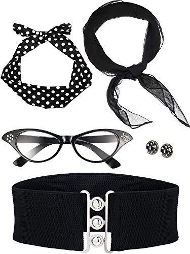 Zhanmai 50 Jahre Kostüm Zubehör Set Enthält Schal Stirnband Ohrringe Katzen Auge Brille Bund für Damen Mädchen Party Lieferungen (Schwarz)