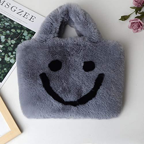 Mode Damentaschen, Hand-tragen Plüsch Damentaschen, große Kapazität Smiley-Taschen, Erwachsenengröße, zum Einkaufen, Feiern und andere Gelegenheiten...