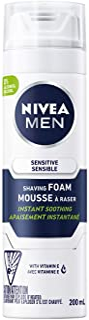 NIVEA Men Sensitive Skin Shaving Foam (200mL), Shaving Foam for Sensitive Skin, Allows for a Close Razor Shave and Leaves ...