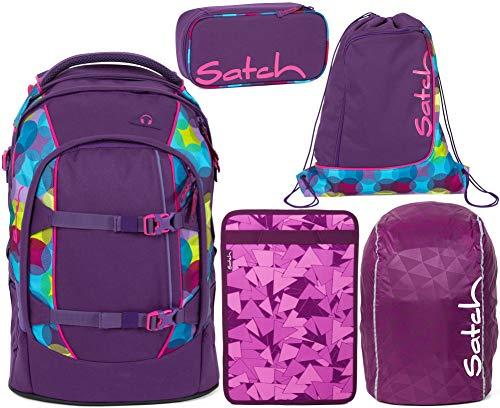Satch Pack Sunny Beats 5er Set Schulrucksack, Sportbeutel, Schlamperbox, Heftebox & Regencape Lila