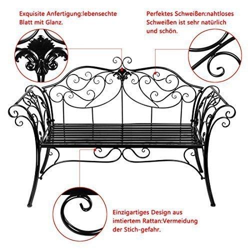 HLC 133*49*90 CM Metall Bank Gartenbank Ruhebank doppelte Sitz mit Rücken aus Eisen Schwarz - 3