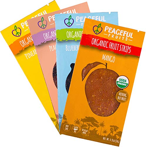 Peaceful Fruits 100% Fruit Strips (Variety pack (blueberry, mango, peach, pineapple), 12 count)