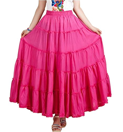 CoutureBridal Womens Elastic Tiered Boho Long Circle Broomstick Peasant Skirt Dance Rose One Size