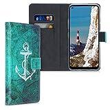 kwmobile Wallet Hülle kompatibel mit LG K61 - Hülle Kunstleder mit Kartenfächern Stand Anker Landkarte Weiß Blau