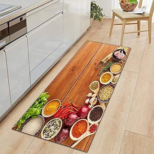 HLXX Alfombra de Cocina Alfombra de Entrada para el hogar Pasillo Dormitorio Sala de Estar Decoración Alfombra de Piso Balcón Baño Alfombra Larga Antideslizante A4 50x160cm