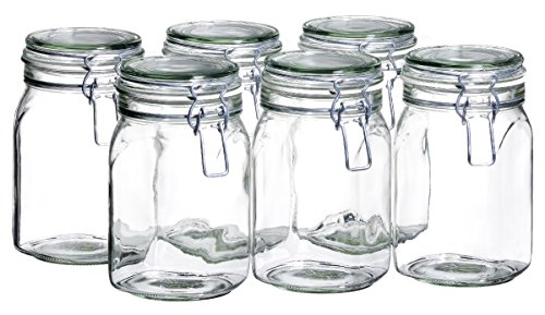 MÄSER 925340 Gothika, Einmachgläser 1 l, 6er Set, made in Germany, Vorratsgläser mit Deckel und Drahtbügel zum luftdichten Aufbewahren, Einkochen und Einlegen, Glas, transparent