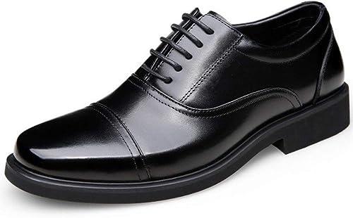 KODH Herren Lederschuhe Herren Casual rutschfeste Schuhe Herrenschuhe bequem und tragbar (Farbe   schwarz, Größe   47)