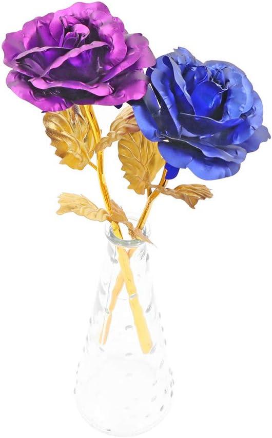 Cadeaux Romantiques pour la Saint-Valentin la F/ête des M/ères 24K Rose Plaqu/é Or Rose Feuille dor 24K No/ë Artificielle Gold Rose Fleur Rose avec bo/îte Cadeau Bleu Anniversaire Anniversaire
