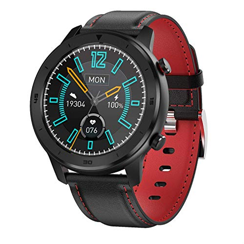 Gymqian Smart Watch 1.3 Pantalla Táctil de Círculo Completo, Movimiento de Marcación Múltiple, Recordatorio de Llamadas, Ip68 Impermeable Exclusivo/Red/Leather