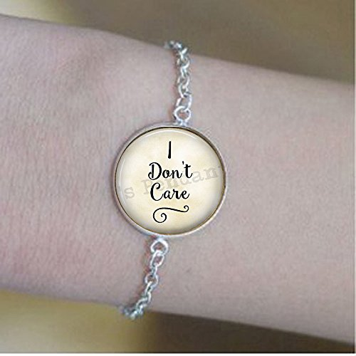 I don't care - indifference - sassy - I don't care bracelets - Funny quote bracelets - cheeky quote jewellery
