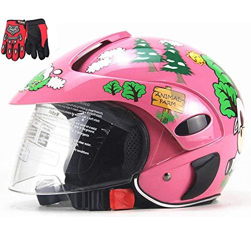 ZJRA Casco De Moto para Niños, Medios Cascos De Moto, Moto Eléctrica Four Seasons Ciclomotor Niñ