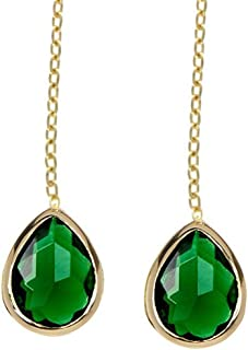 Emerald Quartz Pear Shaped Pull Through Wholesale Gemstone Fashion Jewelry Drop Earrings