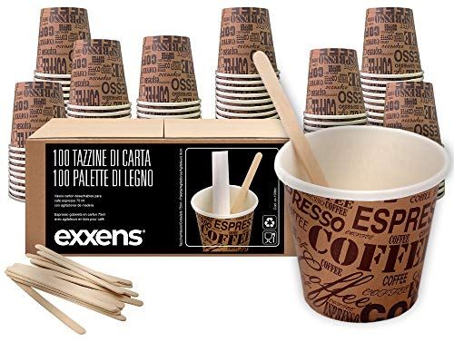 100 vasos de café de papel biodegradables tazas de 75 ml +...