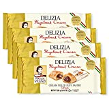 Delizia Hazelnut Cream by Matilde Vicenzi | Cream Filled Puff Pastry Patisserie Rolls | All-Natural, Kosher Dairy | Made in Italy | 4.41oz (125g) Box, 4-Pack