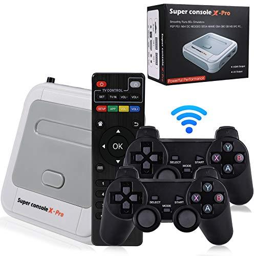 Hawiton Consola de juegos retro inalámbrica con sistema de TV y dos controladores de 2,4 GHz, Super Console X-Pro VideoTV Game Console integrada en más de 41.000 juegos, 50+ consola emuladora para TV 4K HDMI/AV