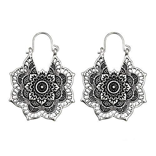 Pendientes de plata envejecida con diseño de mandala, estilo bohemio y flores huecas, estilo étnico