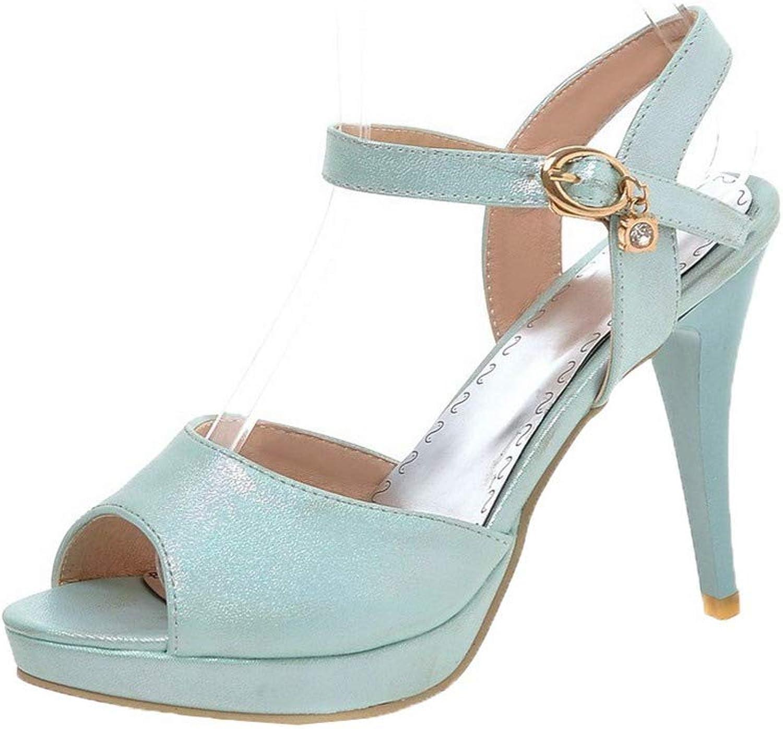 WeiPoot Women's Buckle Pu Open-Toe High-Heels Solid Sandals, EGHLH007597