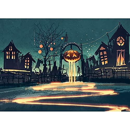 Fondo de Halloween lápida Castillo Calabaza Linterna Luna fotografía Fondo Estudio apoyos A15 10x7ft / 3x2,2 m