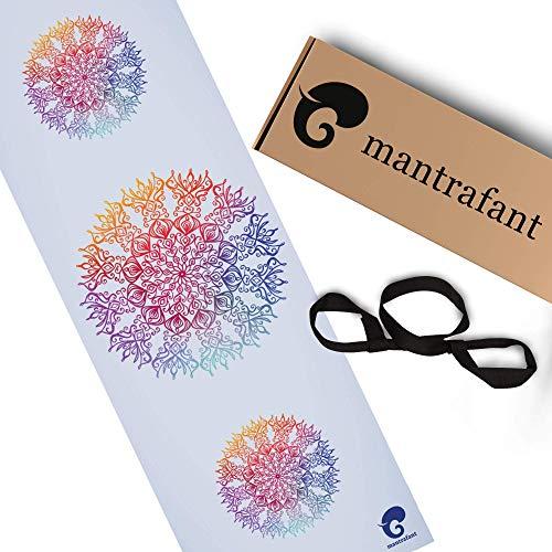 mantrafant Guru Yogamatte – dünne rutschfeste Matte für Yoga mit Tragegurt – schadstofffrei und umweltfreundlich von Herstellung aus...