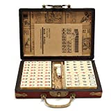 Xianghaoshun Juego de Mahjong Chino, 144 Piezas Juego de Mahjong portátil con Estuche de Viaje de Cuero, Juego de Estilo Chino, Caja de patrón Aleatorio