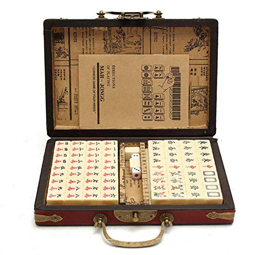 Dacyflower Travel Mahjong Set,144 PCS Chinese Riichi Mahjong Set,Portable Majiang Set,Mah-Jongg, Mahjongg, Majiang with Leather Box