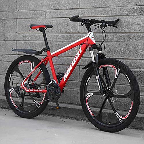 WLKQ Pieghevole Mountain Bike, MTB, Bici Biammortizzata, 26 velocità Doppia Sospensione Biciclette, Telaio in Acciaio ad Alto Tenore di Carbonio Mountainbike, Adulti Bike,Red 6 Spoke,24 Speed