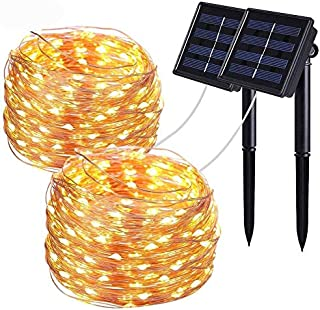 Solar String Lights,Wishlink 2Pack 33ft 100LEDs Copper Wire Outdoor String Fairy Waterproof Christmas Lights 8 Modes Solar...
