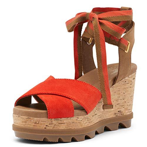 Sorel Women's Joanie II Hi Ankle Lace Wedge Sandal - Signal Red - Size 8