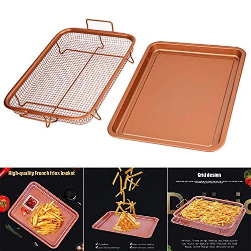 Mooyod Cuivre Couleur Impeccable Plateau Four Frites Panier Anti - Adhérent Friteuse Grille Cuisine Outils