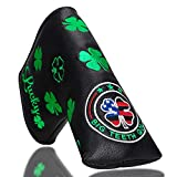 Big Teeth Golf Blade Putter Cover Headcover Club Protector Magnetic Bar Closure for Scotty Cameron Taylormade Odyssey (Clover Black)