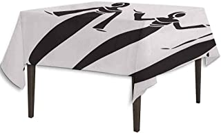 kangkaishi Ethnic Leakproof Polyester Tablecloth Middle Eastern Woman Figure in Hijab Cultural Authentic Arabesque Girl Illustration Dinner Picnic Home Decor W36.2 x L36.4 Inch Black White