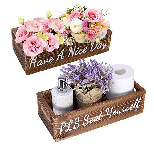 Emibele Badezimmer Dekor Box, 1 Stück Holz Bad Box mit Griffen, Praktische Holzbox zur Aufbewahrung, Holz Papier Windel Halter, Lustige Home Dekor Holzbox für Küche Wohnzimmer Schlafzimmer - Braun