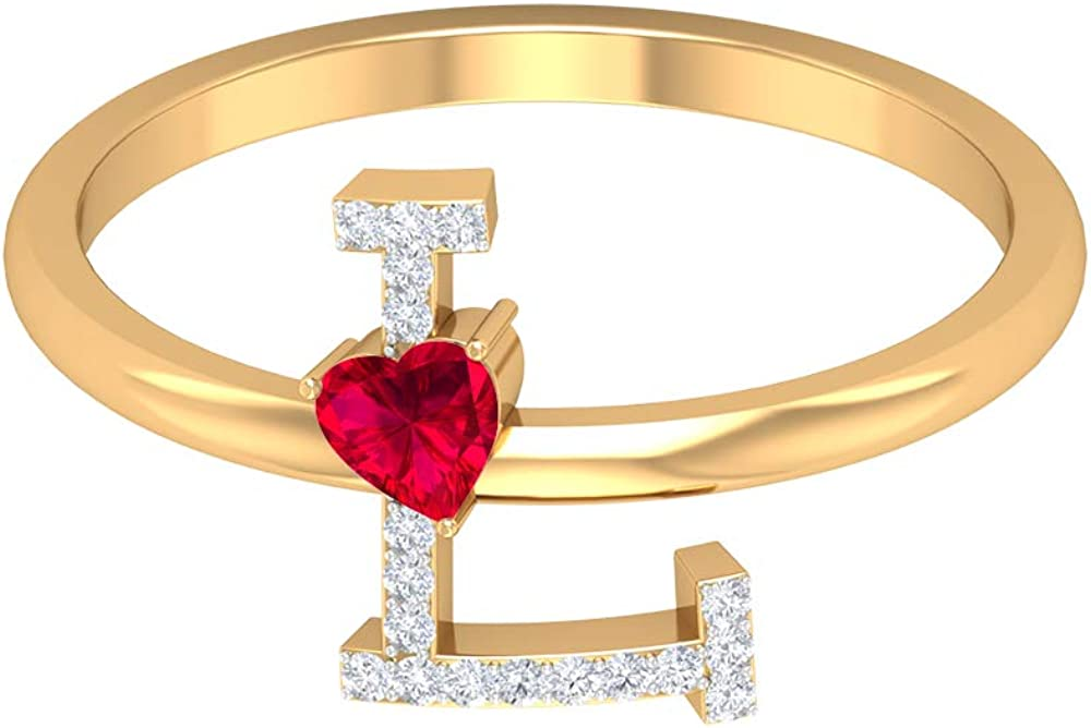 Ruby and Diamond Ring 0.37 CT, Letter L Ring, Gold Alphabet Jewelry (3.5 MM Heart Shaped Ruby), 14K Yellow Gold, Size:US 9.0