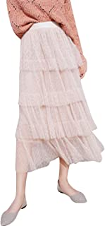 Women Fluffy Princess Tiered Layered Mesh Prom Party Tulle Cake Skirt A-Line Long Skirt