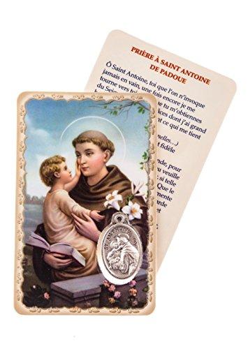 La Maison Du Chrétien Carte de Prière Plastifiée Médaille Argentée Saint Antoine de Padoue