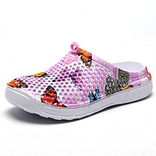 Sabots Mules Chaussures Respirant Fermé Chaussures de Jardin D'Été Amants Pantoufles Plage Sandales Hommes Femmes Piscine Sandales Chaussons Rose Papillon 40