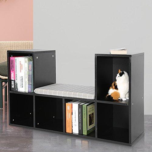 Cusco Multifuncional Estante de Almacenamiento Estantería para Libros Librero con Rincón de Lectura para Uso en Hogar y Oficina (Negro)