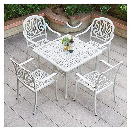 Juegos de muebles de jardín Las mesas y sillas de hierro, al aire libre Jardín Bistro Set de 5 piezas de aluminio fundido al aire libre Patio Bistro Conjunto de muebles de 5, Bistro Round Table Set DY