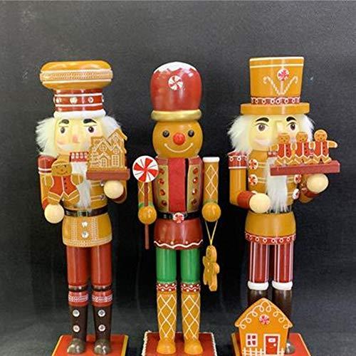 Shaying 35CM Weihnachten Nussknacker Ornament Set, Holz Lebkuchen Weihnachten Nussknacker, Bunte Cartoon Walnuss Puppe für Weihnachtsbaum Dekoration Zubehör