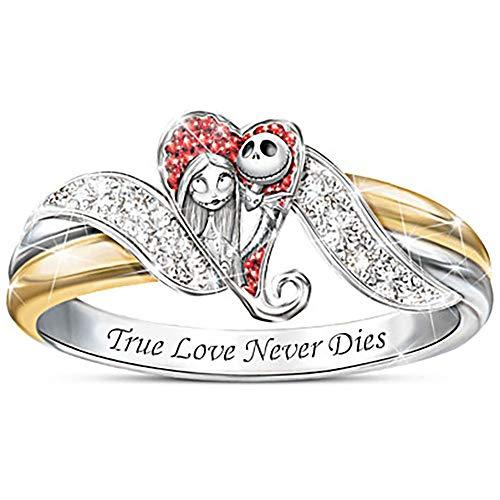 Christmas Nightmare Girl Love Heart Full Diamond Ring Anello in argento 925 unico alla moda, regalo perfetto per la fidanzata o la famiglia (8)