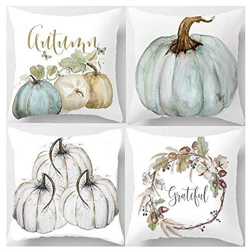ARTIFUN, pumpkin with leaves, autumn, Halloween, Thanksgiving, decorative cushion cover, cotton, linen throw cushion covers, 45 x 45 cm, Abcd, 45 x 45 cm