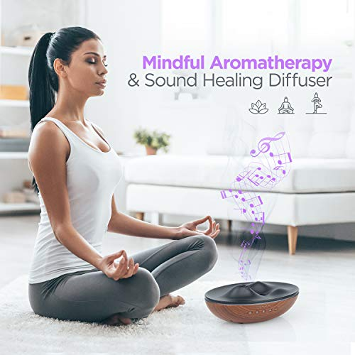 Gratia Naturals Essential Oil Diffuser, Aromatherapy Diffuser Air Freshener W/ 4 Top Oils, Sound Therapy Bluetooth Speaker, Silent Cool Mist Humidifier Aroma Diffuser for Large Room, Office,Yoga,Spa