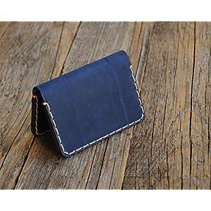 Blaues und rotes Leder Ausweishülle Geldbörse Portemonnaie, langlebige Aufbewahrung von ID, Kreditkarten und Banknoten…