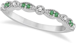 14k Gold Petite Semi-Eternity Marquise Emerald and Diamond Wedding Band in 0.21ct