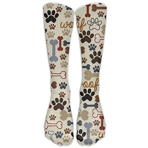 YuanHu Hohe Socken Hundetatze druckt Knochen Stiefel Lange Knie-Socken-Mannschaft Rohr Strümpfe für Reisen und Sport