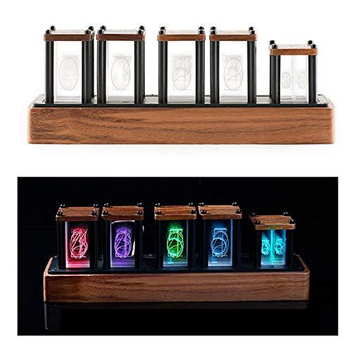 LTKJ Kreative LED Digital Tube Digital Luminous Wecker Glow Tube Holz Desktop Vintage Nixie Wohnzimmer Dekoration Nixie Tube Clock BRAUN