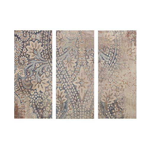 Madison Park, Weathered Damask Walls 3 Piece Set Wall Art, Modern Abstract Design, Global Inspired Damask Print Living Room Accent Décor, Blue Multi, 15 x 35