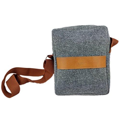 Venetto Umhängetasche Herren Damen Unisex Schultertasche Freizeit Business Tasche aus Filz mit Echtleder-Applikationen (Grau)