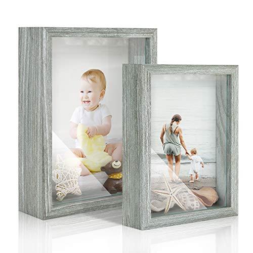 Afuly 3D Bilderrahmen 13x18 und 15x20 Holz Grau Baby Objektrahmen Rustikal Shadow Box Wand oder Desktop Family Geschenk,2er Set