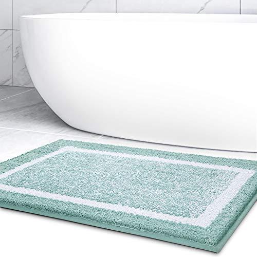 Color&Geometry Tappetino da Bagno, 40 x 60 cm Tappetini da Bagno in Microfibra, Antiscivolo, Lavabili in Lavatrice, Assorbenti d'Acqua e Morbido (Verde)